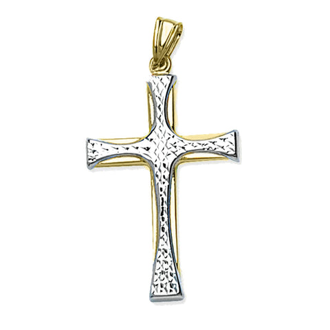 14k Two-tone Gold Cross with White Gold Diamond-cut Center, Pendant Only
