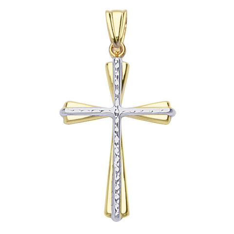 14k Two-tone Gold Cross with Diamond-cut Center, Pendant Only