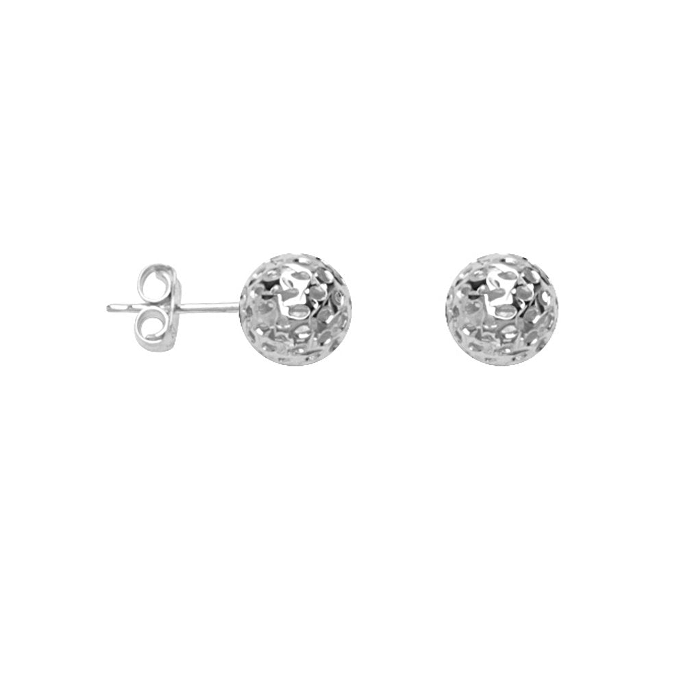14k White Gold Ball Stud Earrings Laser Diamond-cut Texture