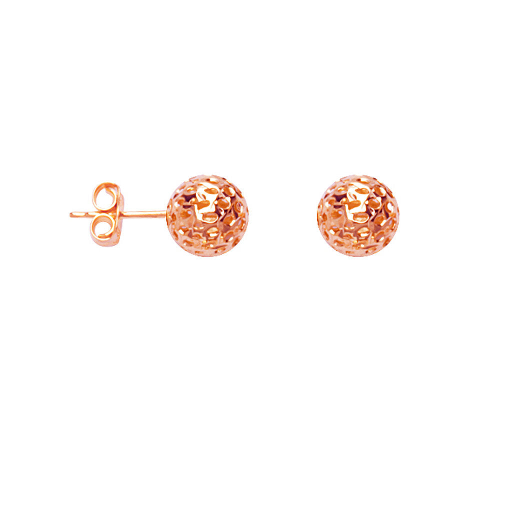 14k Rose Gold Ball Stud Earrings Laser Diamond-cut Texture