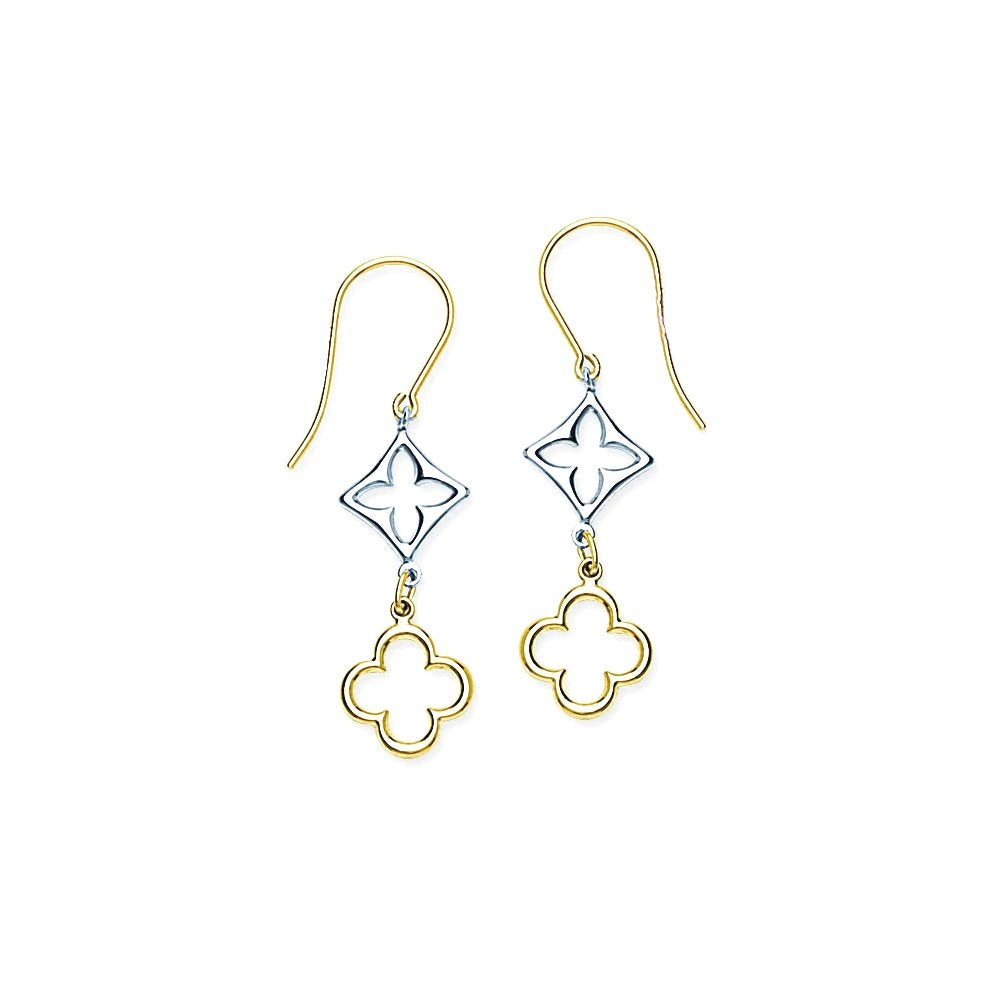 14k Two-tone White and Yellow Gold Double Quatrefoil Earrings with Chain Drops