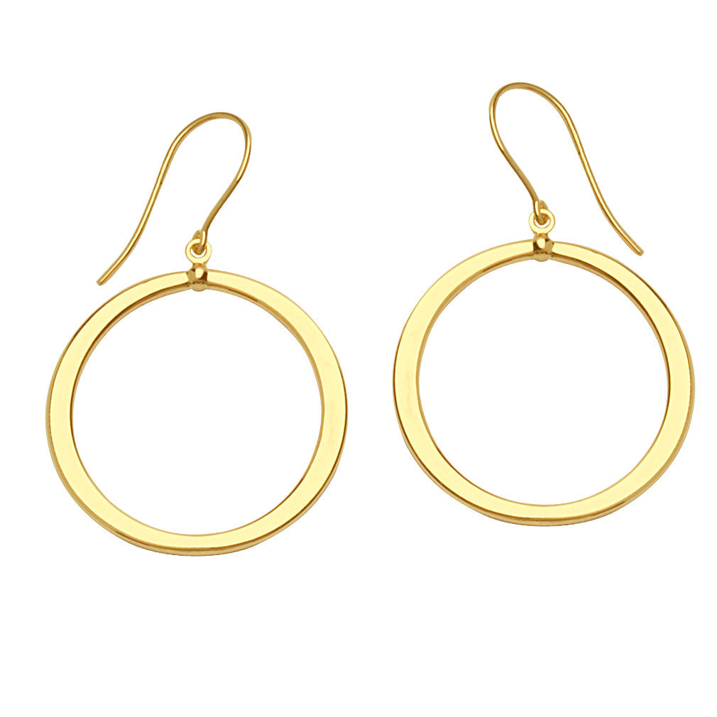 14k Yellow Gold Dangle Open Hoop Earrings