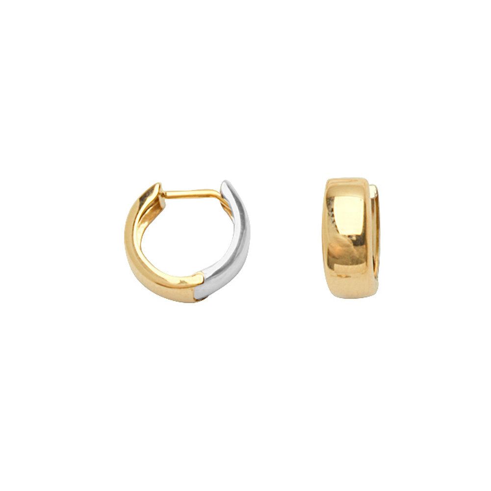 14k Yellow and White Gold Polished Two-tone Huggie Hoop Earrings 11mm