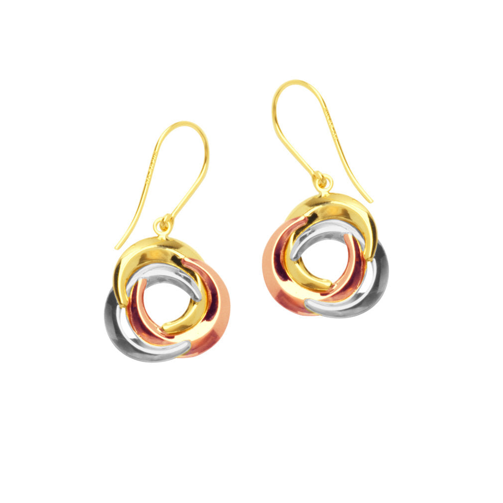 14k Gold Tri-tone White, Rose, and Yellow Twist Ring Earrings