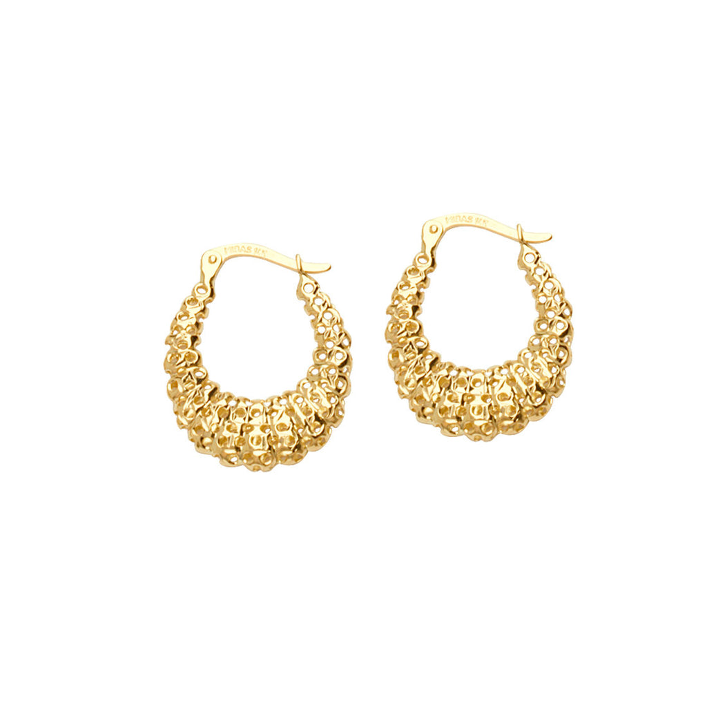 14k Yellow Gold Laser Cut Hoop Earrings with Open Circles