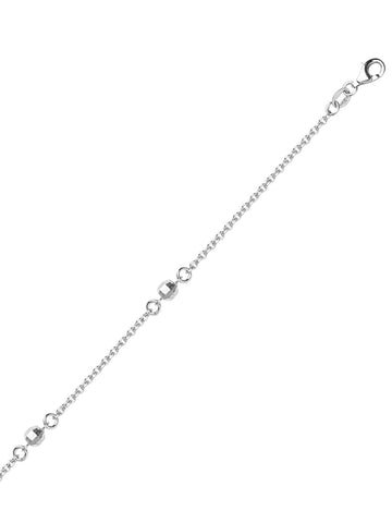 Sterling Silver Anklet Ankle Bracelet Cable Chain with Faceted Beads