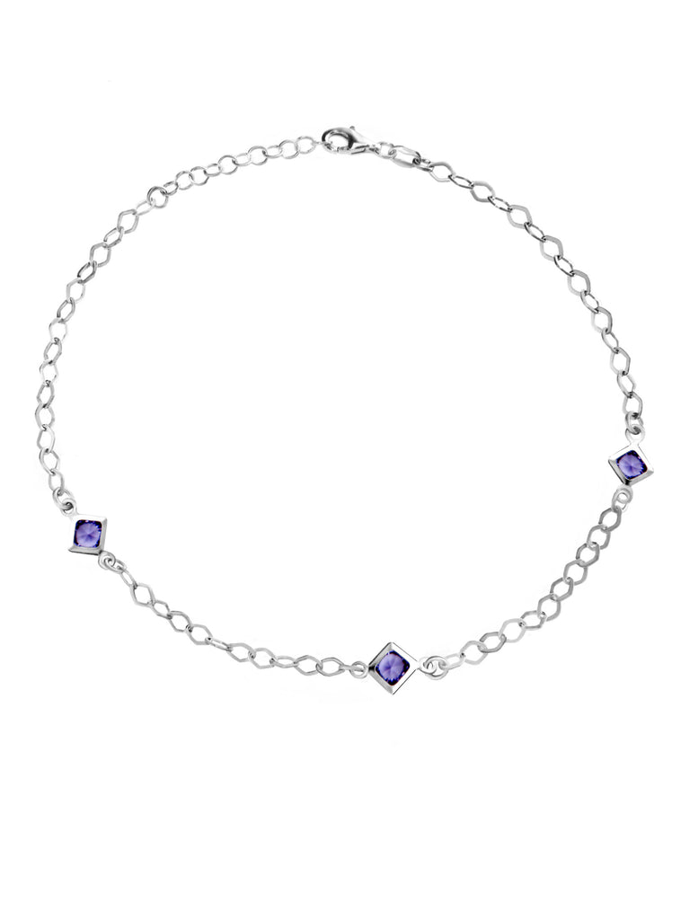 Sterling Silver Anklet Ankle Bracelet with Purple Cubic Zirconia Adjustable