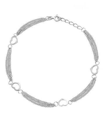 Sterling Silver Anklet Ankle Bracelet with Double Layer Chain and Open Hearts