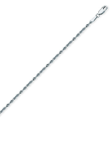 Sterling Silver Anklet Ankle Bracelet Rope Chain Adjustable from 9 to 10 inches