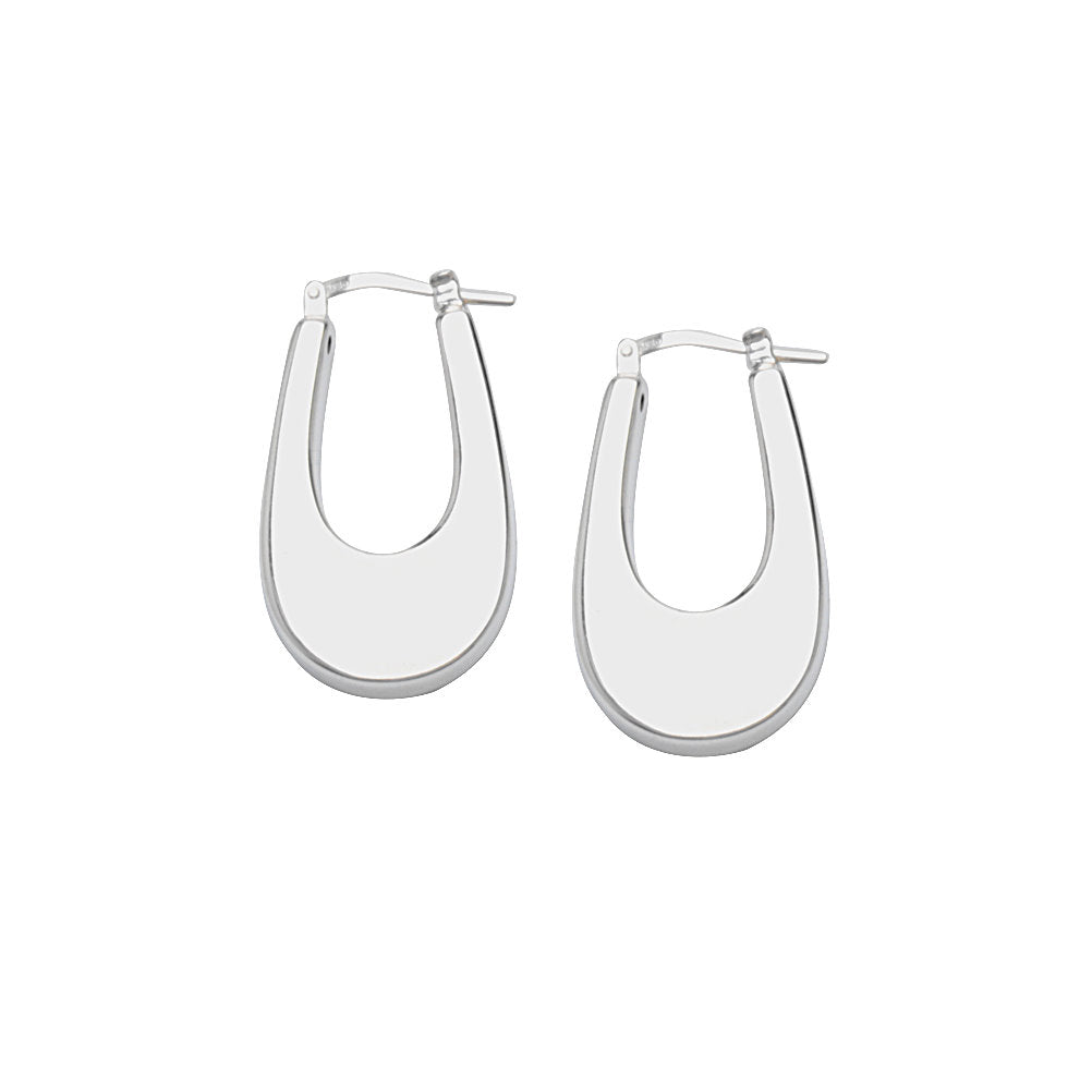 Flat Hoop Oval Earrings Artform Designer Collection Sterling Silver Nontarnish