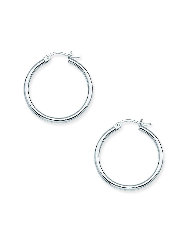 Classic Hoop Earrings 2x25mm Rhodium on Sterling Silver Nontarnish Click