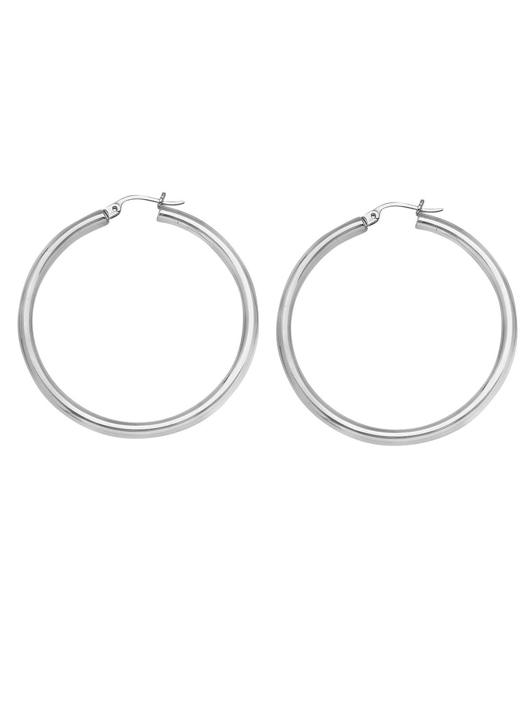 Classic Hoop Earrings 3x25mm Rhodium on Sterling Silver Nontarnish Click Close