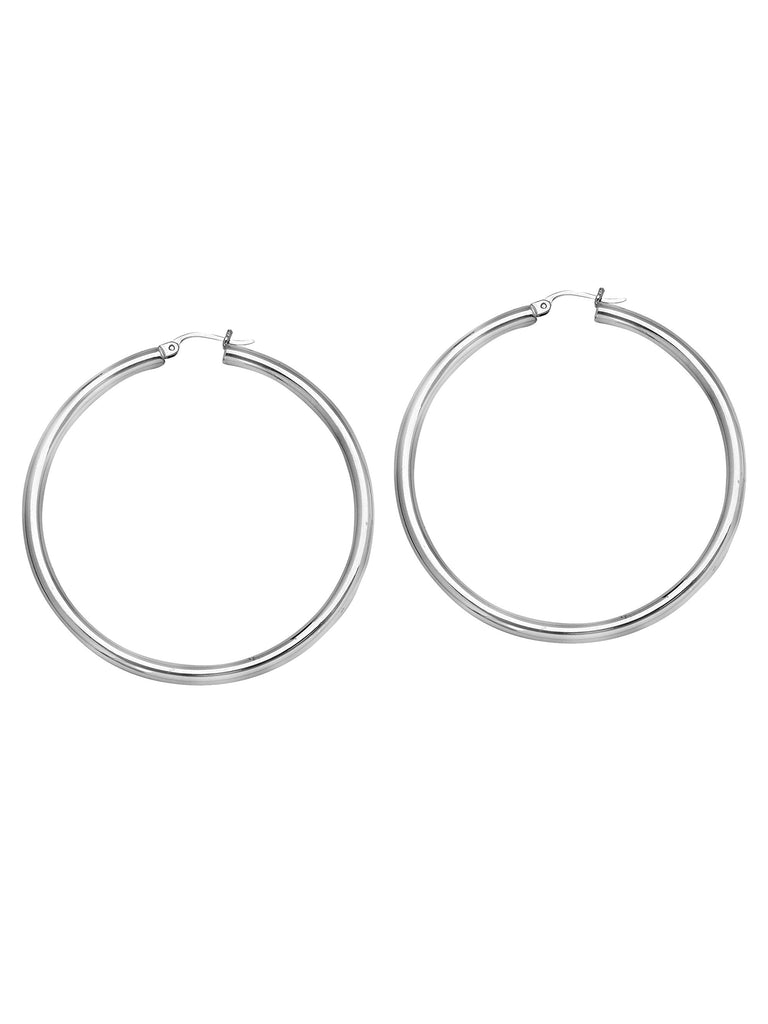 Classic Hoop Earrings 3x45mm Rhodium on Sterling Silver Nontarnish Click Close