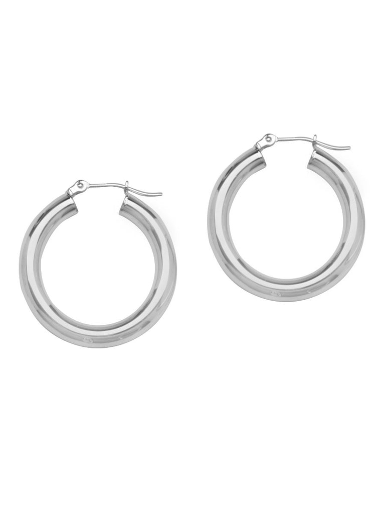 Classic Hoop Earrings 4x20mm Rhodium on Sterling Silver Nontarnish Click Close