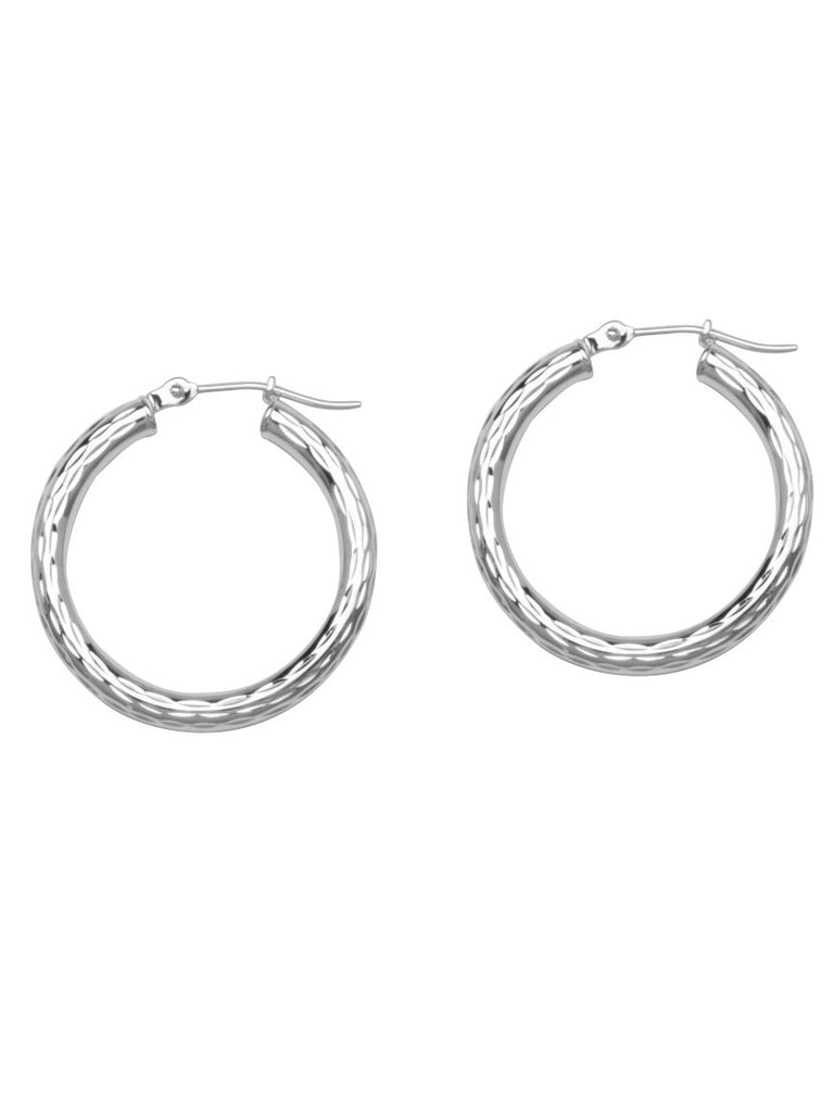 Full Diamond-cut Hoop Earrings 3x25mm Rhodium on Sterling Silver Nontarnish
