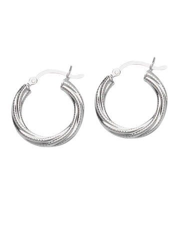 Classic Twist Hoop with Texture Earrings Rhodium on Sterling Silver 20mm