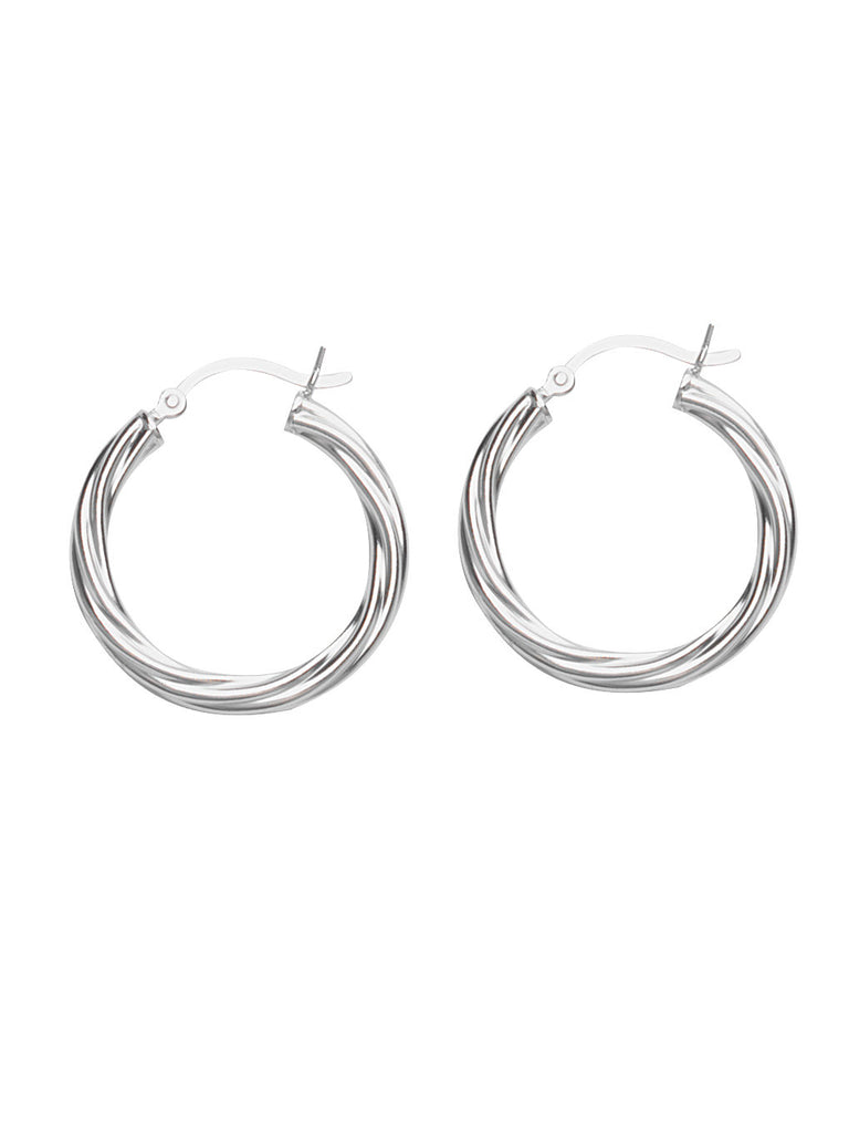 Classic Twist Hoop Earrings Rhodium on Sterling Silver 20mm Non-tarnish