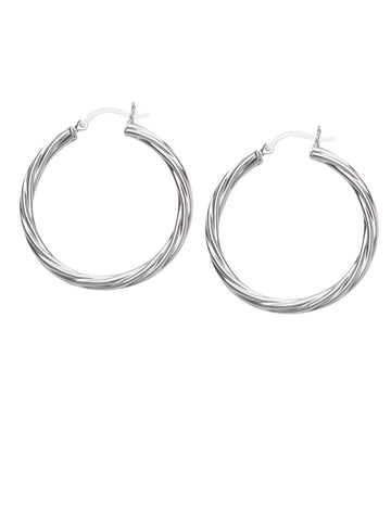 Classic Twist Hoop Earrings Rhodium on Sterling Silver 35mm Non-tarnish