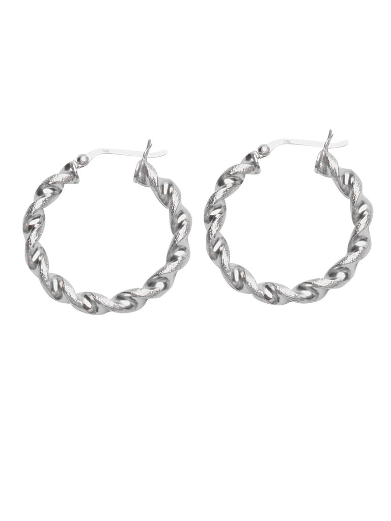 Classic Twist Hoop Earrings Polished w/Textured Rhodium on Sterling Silver 30mm