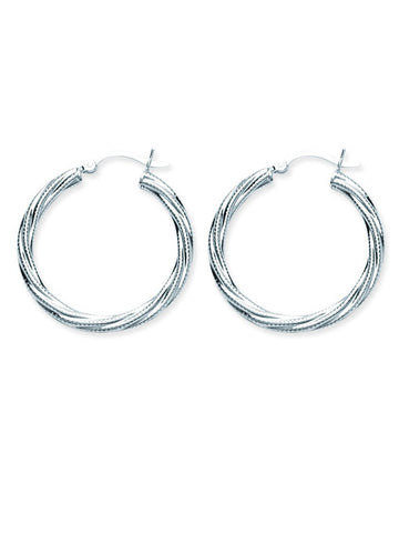 Classic Twist Hoop with Texture Earrings Rhodium on Sterling Silver 30mm