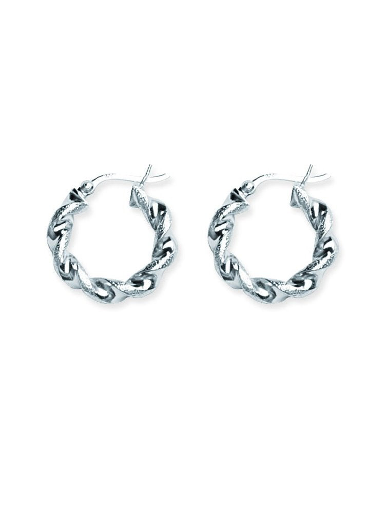 Classic Twist Hoop Earrings Polished and Textured Rhodium on Sterling Silver
