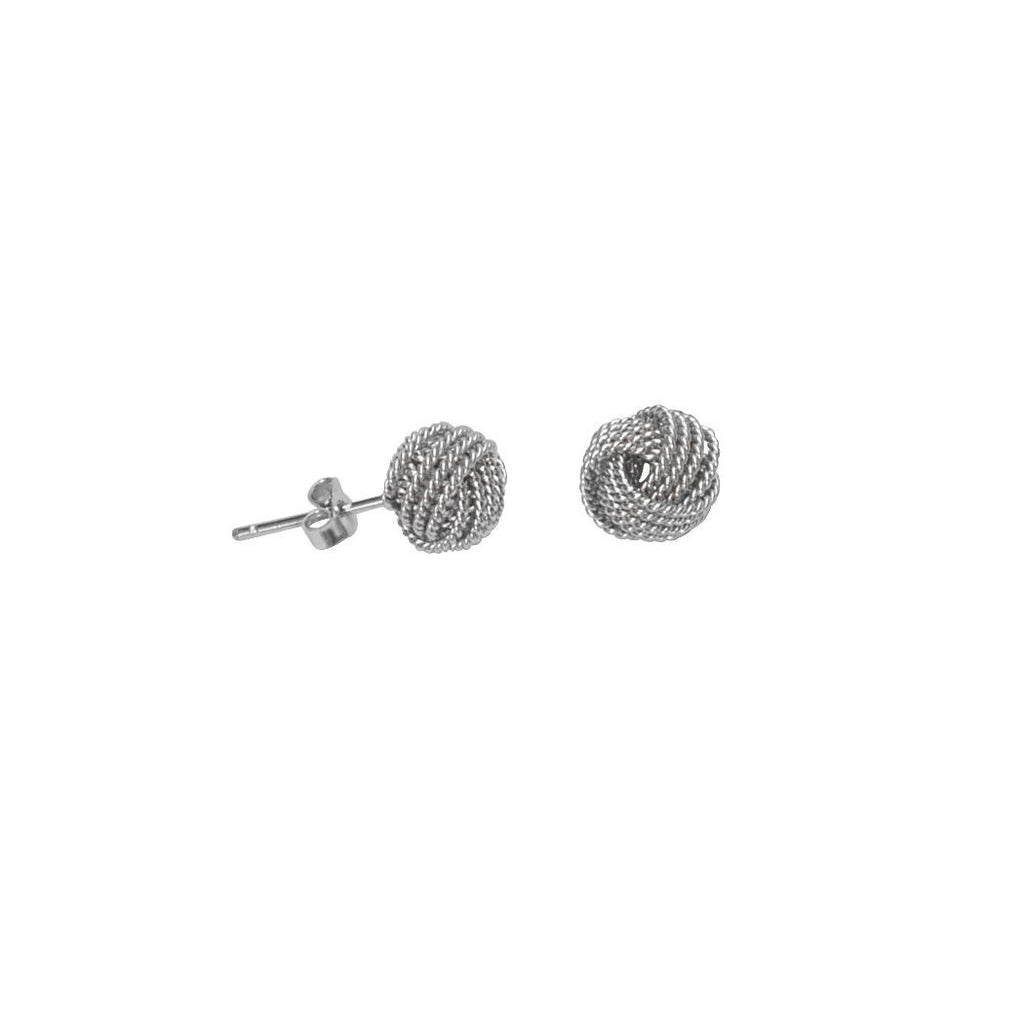 Love Knot Stud Earrings 9mm Rope Loops Rhodium on Sterling Silver