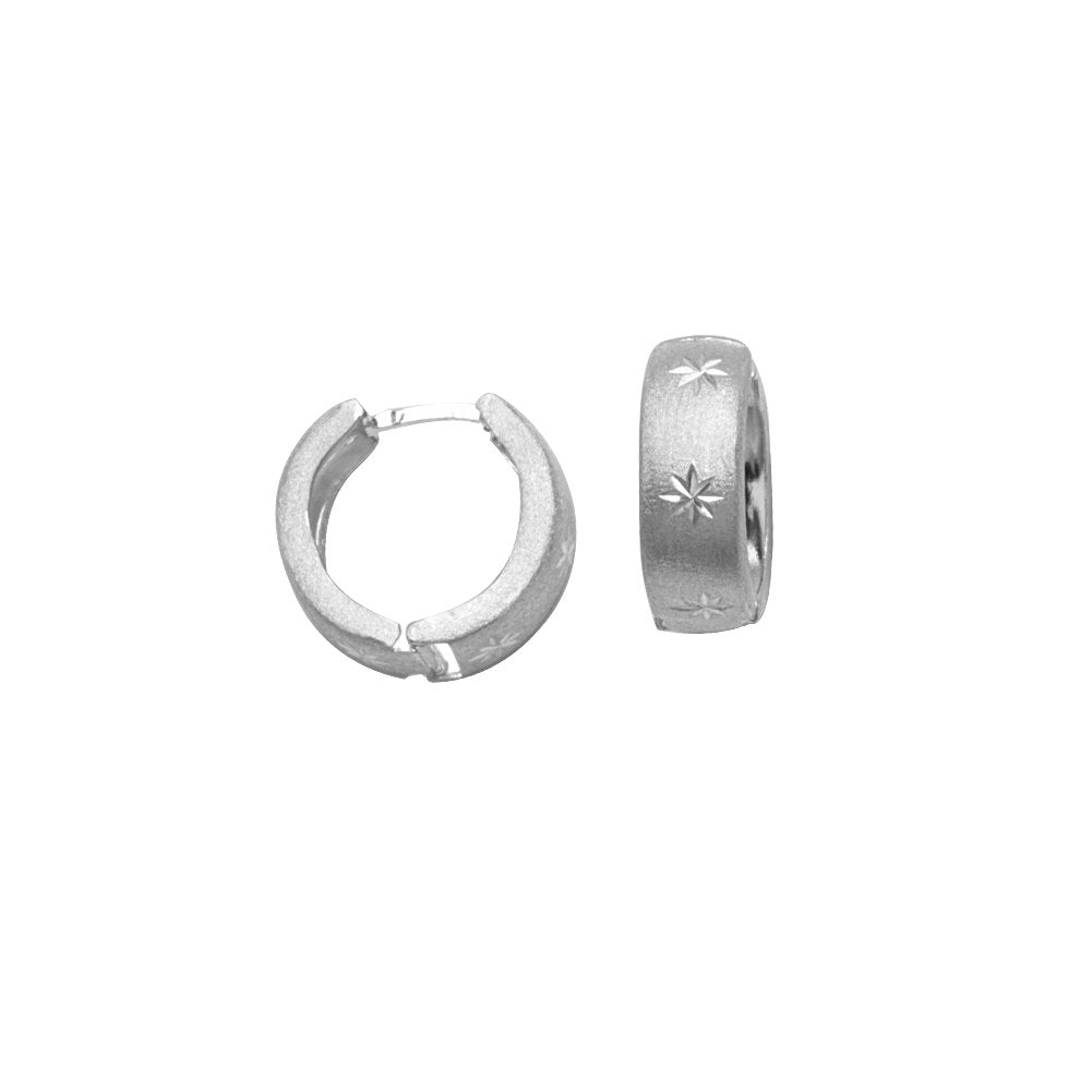 Huggie Hoop Earrings Satin Star Design Rhodium on Sterling Silver - Nontarnish