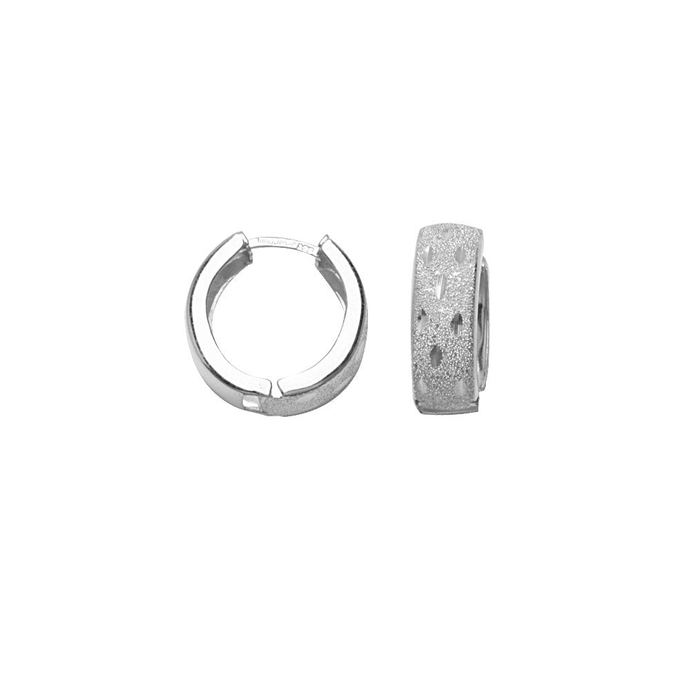Huggie Hoop Laser Finish with Diamond-cut Rhodium on Sterling Silver-Nontarnish