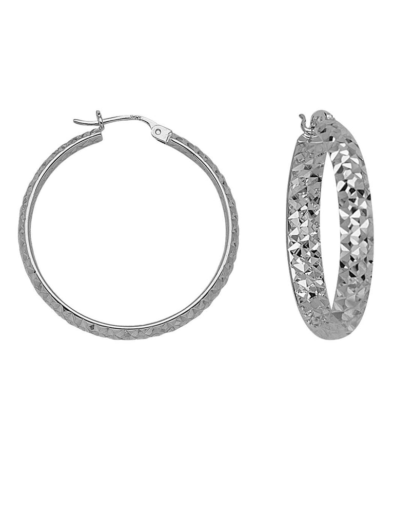 In Out Diamond-cut Hoop Earrings 4x30mm Rhodium on Sterling Silver Nontarnish