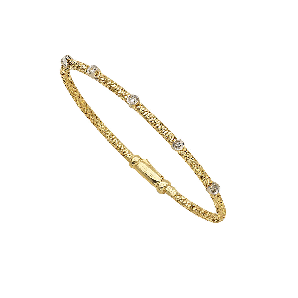 Genuine Diamond Accent Mesh Bangle Bracelet Yellow Gold on Sterling Silver