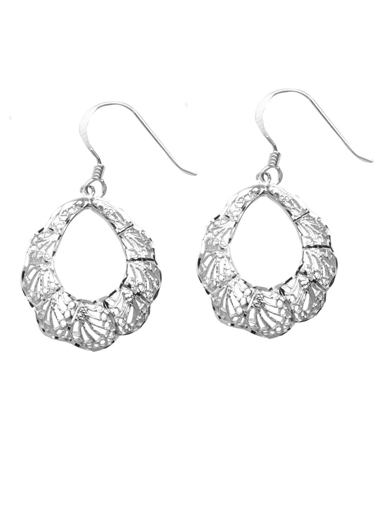 Filigree Design Round Dangle Earrings Polished Finish Rhodium on Sterling Silver