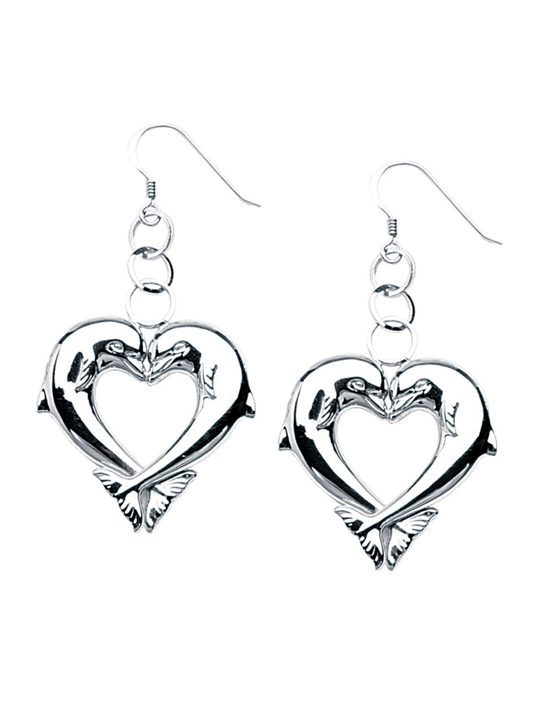 Dolphin Heart Drop Earrings Polished Finish Rhodium on Sterling Silver