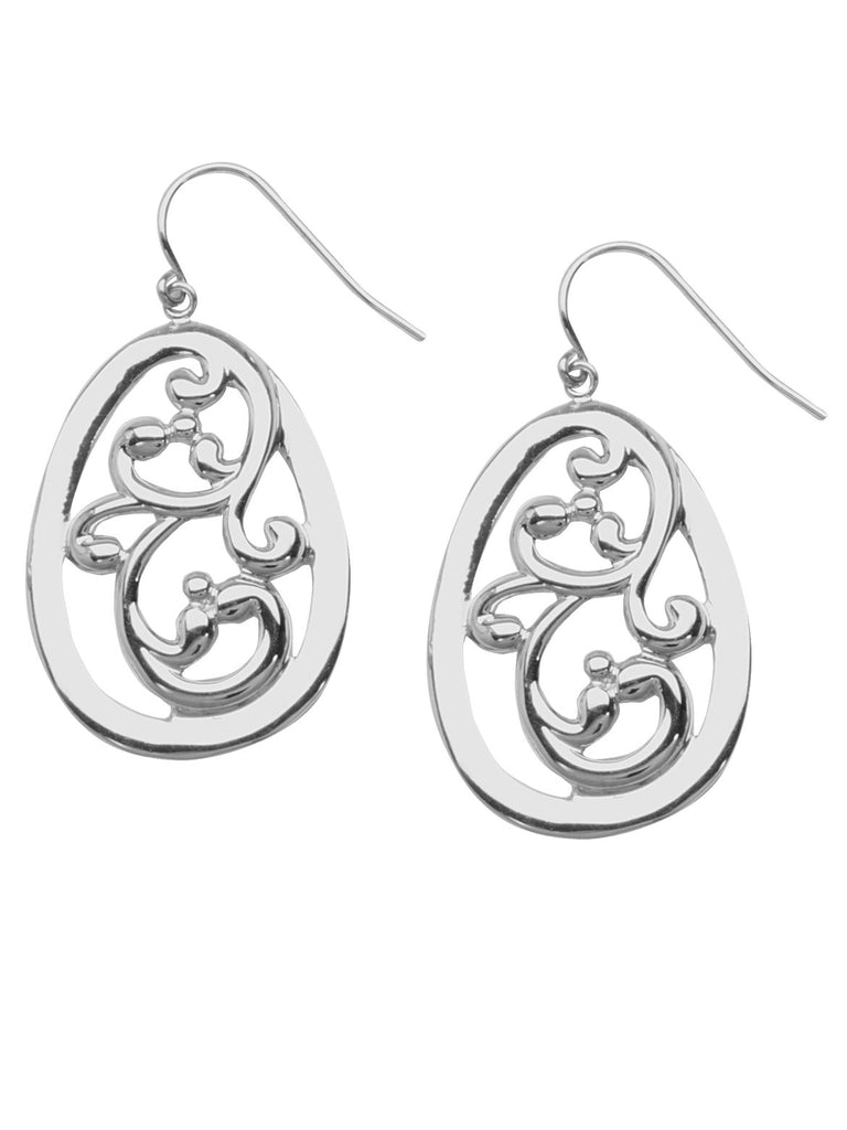 Vine Design Drop Earrings Polished Finish Rhodium on Sterling Silver