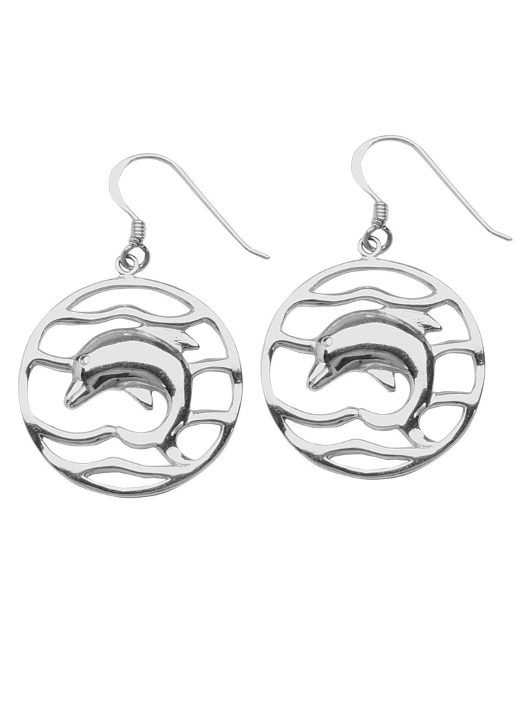 Dolphin Wave Ocean Drop Earrings Polished Finish Rhodium on Sterling Silver