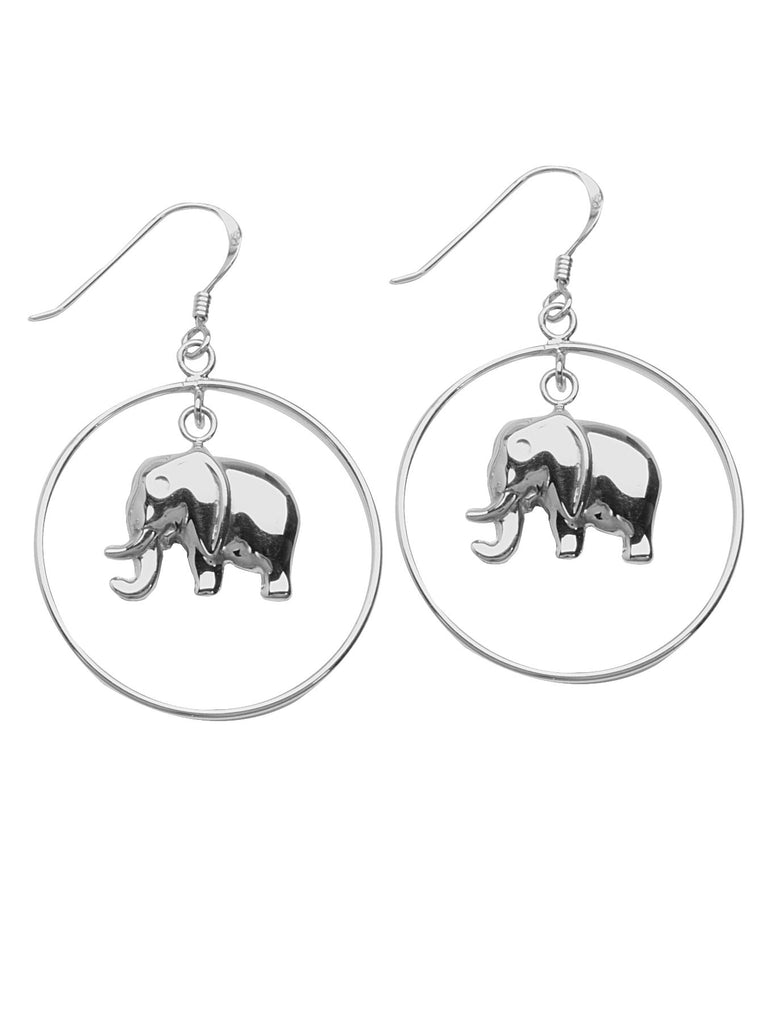 Elephant Charm Design Hoop Earrings Polished Finish Rhodium on Sterling Silver