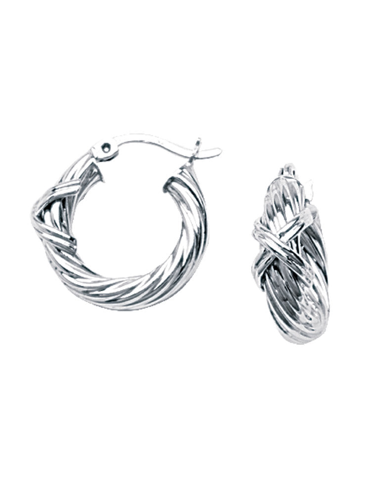 Twist Hoop Earrings Rope Polished Finish Rhodium on Sterling Silver