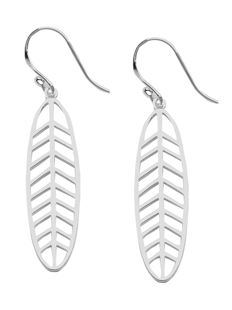 Tribal Leaf Design Earrings Polished Finish Rhodium on Sterling Silver