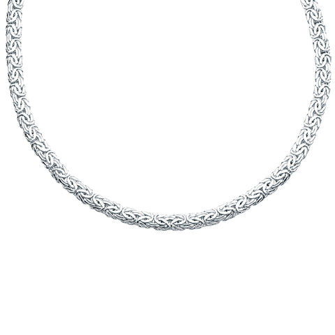 Flat Byzantine Chain Necklace 7mm Wide Rhodium on Sterling Silver - Nontarnish