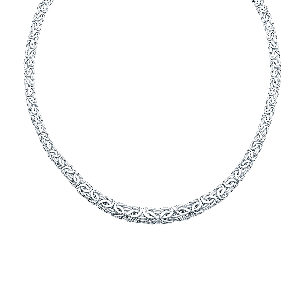 Byzantine Chain Necklace Graduated Width from 6-9mm Rhodium on Sterling Silver