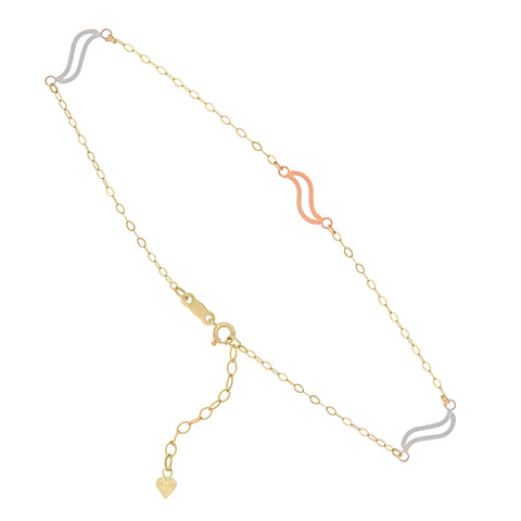 14k Tri-tone Gold Anklet Ankle Bracelet with White and Rose Gold Swirl Links