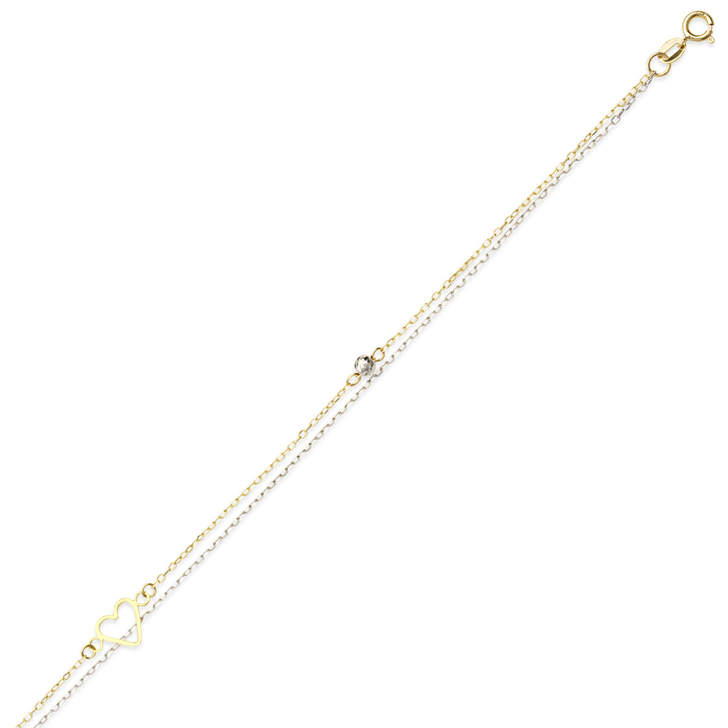 14k Two-tone Gold Anklet Ankle Bracelet Adjustable with Open Heart