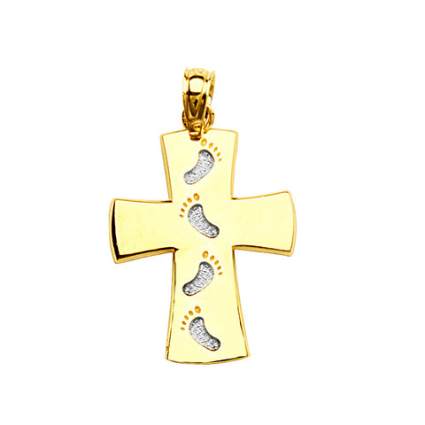 14k Two-tone White and Yellow Gold Footprints Cross Pendant, Pendant Only