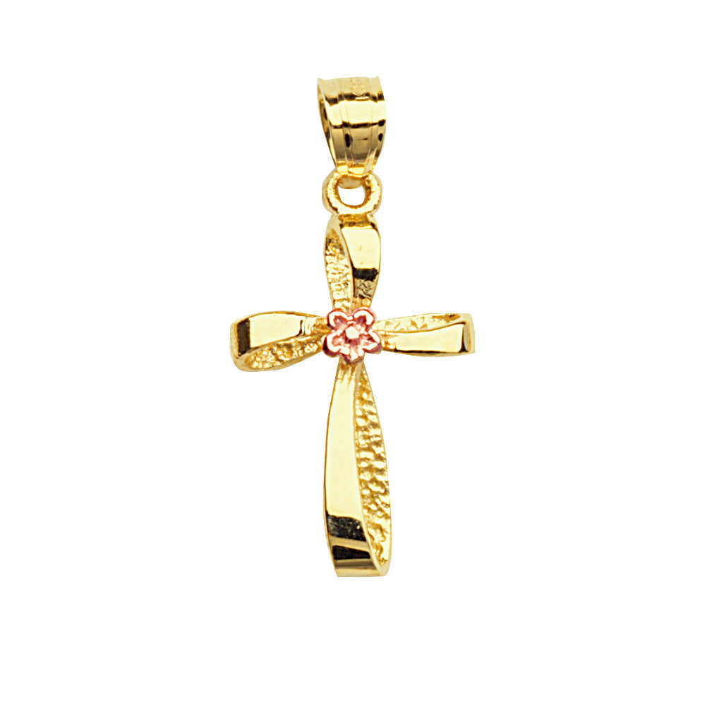 10k Rose and Yellow Two-tone Gold Cross Pendant with Small Pink Flower Center
