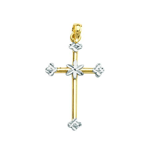 14k Two-tone Gold Cross with Flower Center and Fleuree Tips, Pendant Only