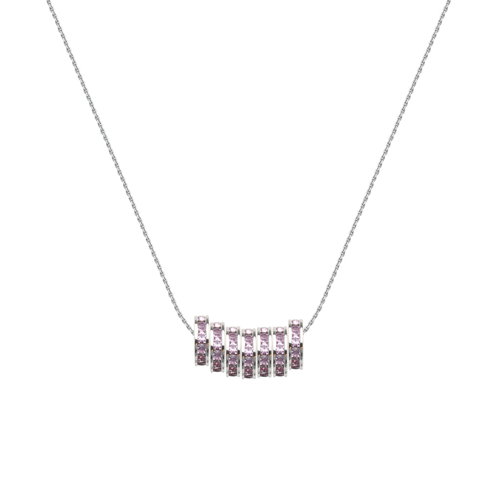 Lucky 7 Necklace with Seven Violet Crystal Beads Rhodium-plated Sterling Silver