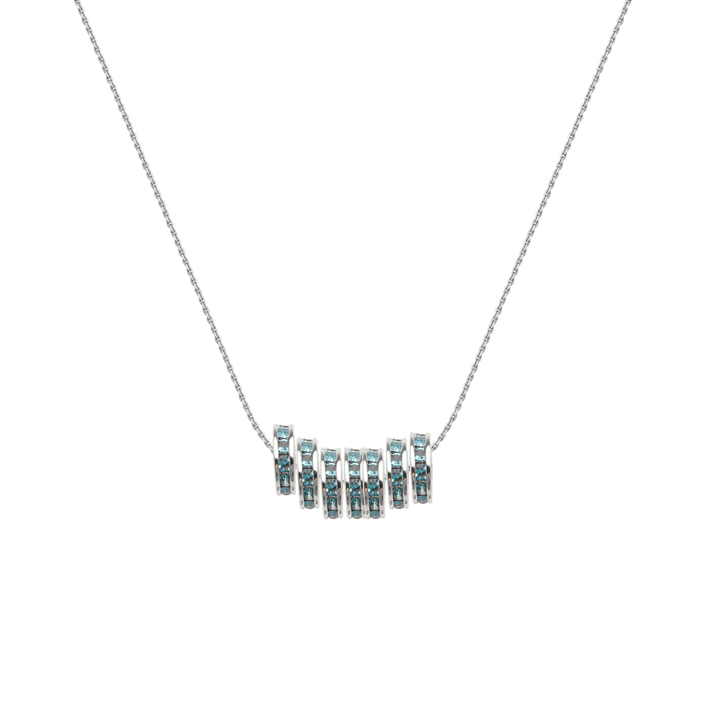 Lucky 7 Necklace with Seven Aqua Crystal Beads Rhodium-plated Sterling Silver
