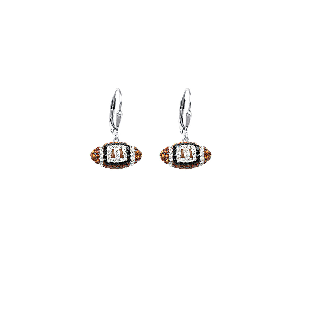 Football Earrings Sterling Silver with Sparkling Crystal - 3D