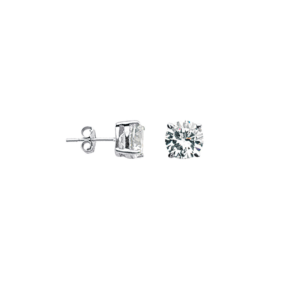 Round 8mm Cubic Zirconia CZ Stud Earrings Nontarnish Rhodium on Sterling Silver