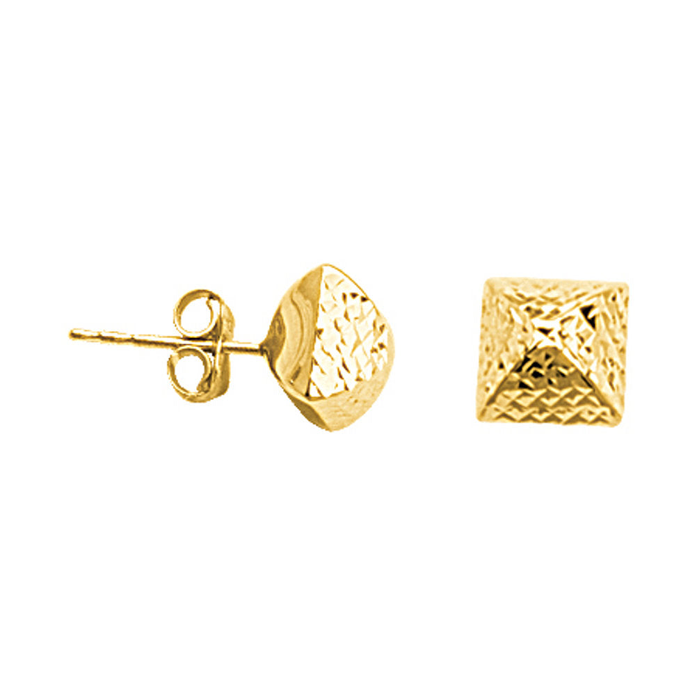 10k Yellow Gold Pyramid Stud Earrings 7mm