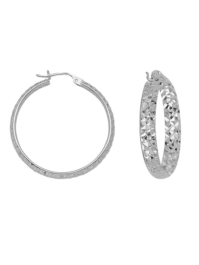 In Out Diamond-cut Hoop Earrings 3x25mm Rhodium on Sterling Silver Nontarnish